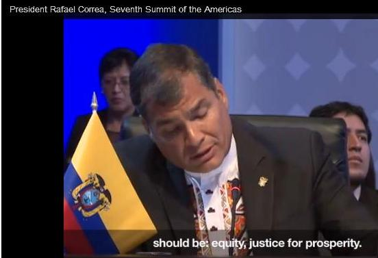 Pres Correa at Summit of the Americas, Panama, April 2015
